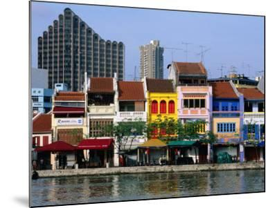 Former Chinese Shophouses, Now Restaurants, along Singapore River Boat Quay, Singapore-John Elk III-Mounted Photographic Print
