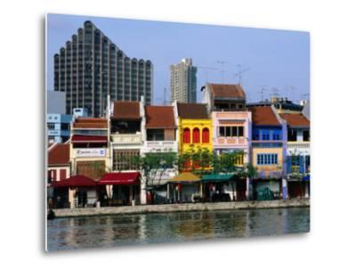 Former Chinese Shophouses, Now Restaurants, along Singapore River Boat Quay, Singapore-John Elk III-Metal Print