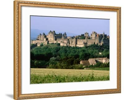 La Cite, 12th Century Castle in Distance, Carcassonne, Languedoc-Roussillon, France-John Elk III-Framed Photographic Print