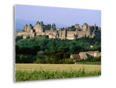 La Cite, 12th Century Castle in Distance, Carcassonne, Languedoc-Roussillon, France-John Elk III-Metal Print