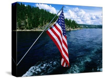 American Flag on Boat, Lake Coeur d'Alene, Coeur d'Alene, Idaho-Holger Leue-Stretched Canvas Print