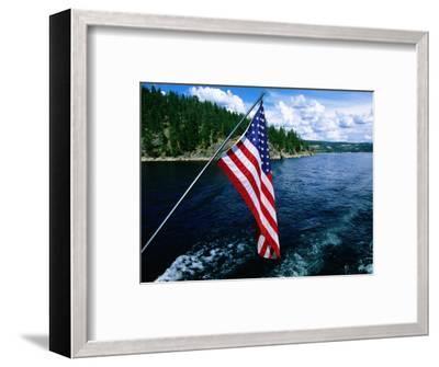 American Flag on Boat, Lake Coeur d'Alene, Coeur d'Alene, Idaho-Holger Leue-Framed Photographic Print