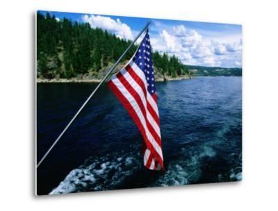 American Flag on Boat, Lake Coeur d'Alene, Coeur d'Alene, Idaho-Holger Leue-Metal Print