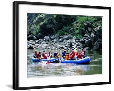 People on Rafting Trip, Snake River, Hells Canyon, Idaho-Holger Leue-Framed Photographic Print