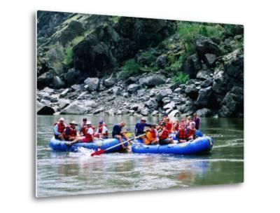 People on Rafting Trip, Snake River, Hells Canyon, Idaho-Holger Leue-Metal Print