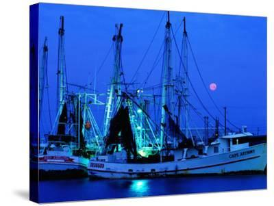 Moon over Shrimp Trawlers in Harbour, Palacios, Texas-Holger Leue-Stretched Canvas Print