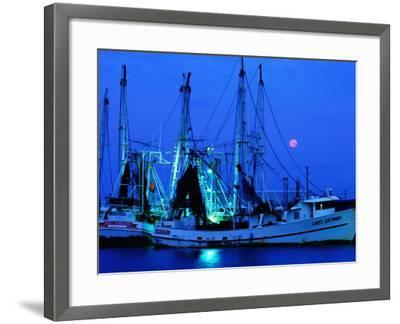 Moon over Shrimp Trawlers in Harbour, Palacios, Texas-Holger Leue-Framed Photographic Print