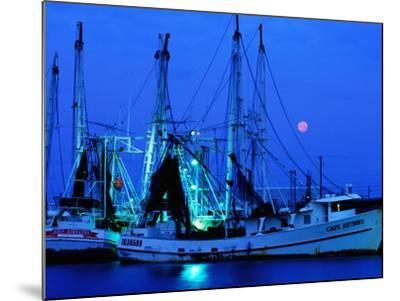 Moon over Shrimp Trawlers in Harbour, Palacios, Texas-Holger Leue-Mounted Photographic Print