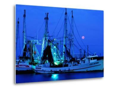 Moon over Shrimp Trawlers in Harbour, Palacios, Texas-Holger Leue-Metal Print