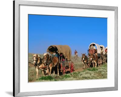 Mormons on Horse Carriages, Mormon Pioneer Wagon Train to Utah, Near South Pass, Wyoming-Holger Leue-Framed Photographic Print