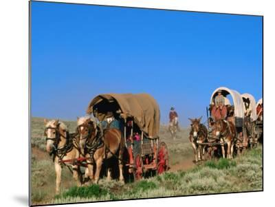 Mormons on Horse Carriages, Mormon Pioneer Wagon Train to Utah, Near South Pass, Wyoming-Holger Leue-Mounted Photographic Print