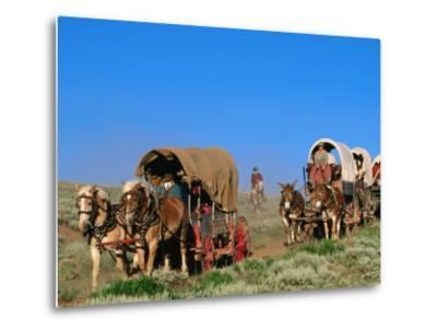 Mormons on Horse Carriages, Mormon Pioneer Wagon Train to Utah, Near South Pass, Wyoming-Holger Leue-Metal Print
