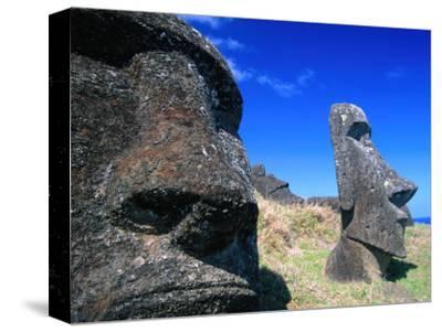 Half Submerged Traditional Moai at Rano Raraku, Easter Island, Valparaiso, Chile-Brent Winebrenner-Stretched Canvas Print