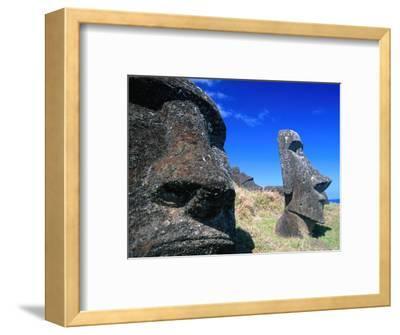 Half Submerged Traditional Moai at Rano Raraku, Easter Island, Valparaiso, Chile-Brent Winebrenner-Framed Photographic Print