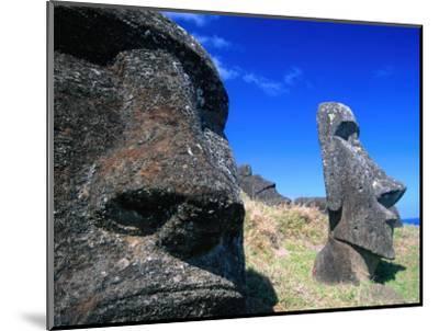 Half Submerged Traditional Moai at Rano Raraku, Easter Island, Valparaiso, Chile-Brent Winebrenner-Mounted Photographic Print
