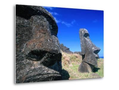 Half Submerged Traditional Moai at Rano Raraku, Easter Island, Valparaiso, Chile-Brent Winebrenner-Metal Print