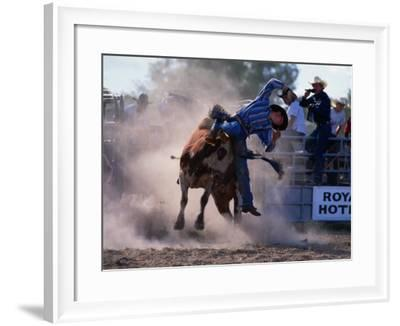 Rodeo Rider Falling Off Bull, New South Wales, Australia-Oliver Strewe-Framed Photographic Print