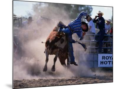Rodeo Rider Falling Off Bull, New South Wales, Australia-Oliver Strewe-Mounted Photographic Print