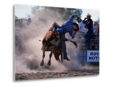 Rodeo Rider Falling Off Bull, New South Wales, Australia-Oliver Strewe-Metal Print