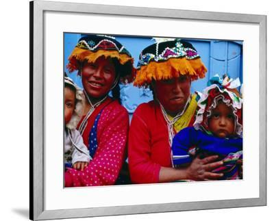 Two Mothers with Children in Traditional Colourful Clothing, Pisac, Cuzco, Peru-Jeffrey Becom-Framed Photographic Print