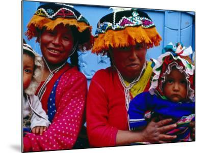 Two Mothers with Children in Traditional Colourful Clothing, Pisac, Cuzco, Peru-Jeffrey Becom-Mounted Photographic Print