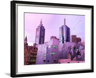 Federation Square at Dusk, Melbourne, Victoria, Australia-John Banagan-Framed Photographic Print
