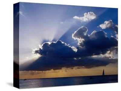 Sunset Shining through Clouds, Isla Cozumel, Quitana Roo, Mexico-Richard Cummins-Stretched Canvas Print