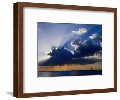 Sunset Shining through Clouds, Isla Cozumel, Quitana Roo, Mexico-Richard Cummins-Framed Photographic Print