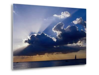 Sunset Shining through Clouds, Isla Cozumel, Quitana Roo, Mexico-Richard Cummins-Metal Print