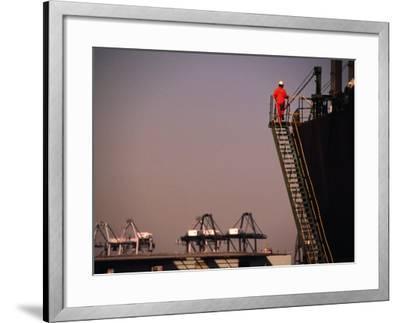 Crew Member Entering Cargo Ship on Ladder, Los Angeles, California-Thomas Winz-Framed Photographic Print