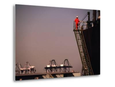 Crew Member Entering Cargo Ship on Ladder, Los Angeles, California-Thomas Winz-Metal Print