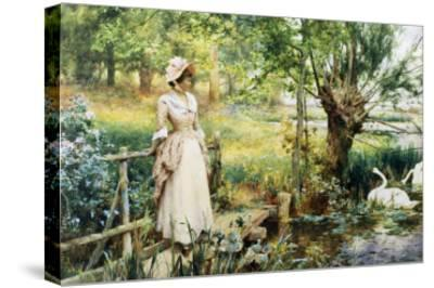 Reverie by the River-Alfred Augustus Glendenning-Stretched Canvas Print