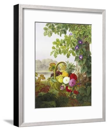 Dahlias, Asters and Morning Glory-Johan Laurentz Jensen-Framed Premium Giclee Print