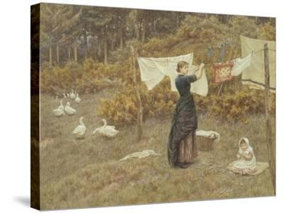 Hanging the Washing-Helen Allingham-Stretched Canvas Print