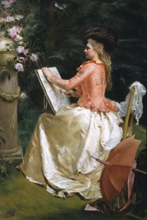 The Artist in the Garden-Gustave Jean Jacquet-Stretched Canvas Print