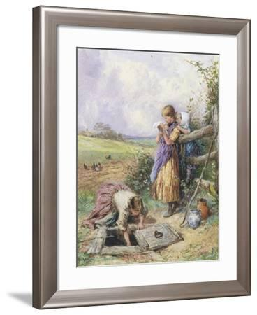 Reading by the Well-Myles Birket Foster-Framed Giclee Print