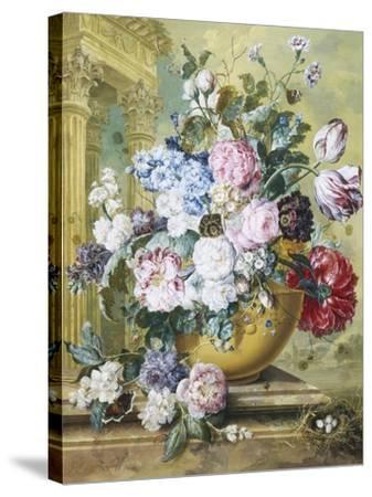 Still Life of Roses, Delphiniums and Tulips-Jacobus Linthorst-Stretched Canvas Print