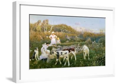 Feeding the Calves-Thomas J. Lloyd-Framed Giclee Print
