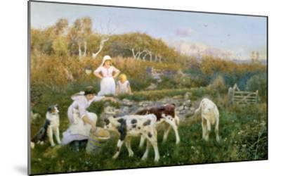 Feeding the Calves-Thomas J. Lloyd-Mounted Giclee Print