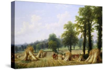 View of Harvesting near Warwick-Thomas Baker-Stretched Canvas Print
