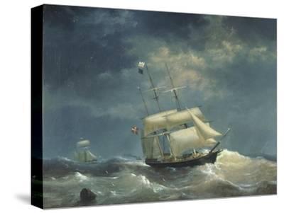 Sailing Ship at Sea-Egidius Linnig-Stretched Canvas Print
