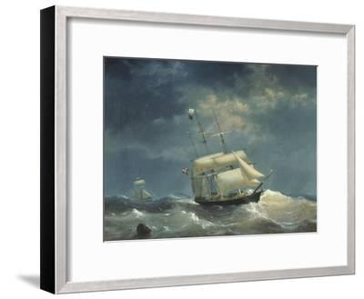 Sailing Ship at Sea-Egidius Linnig-Framed Giclee Print
