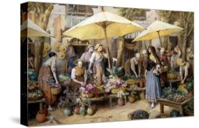 Toulon Market, France-Myles Birket Foster-Stretched Canvas Print