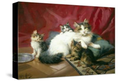 Cosy Family-Leon Charles Huber-Stretched Canvas Print