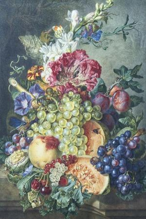 Fruit and Flowers-Gerrit Jan Van Leeuwen-Stretched Canvas Print