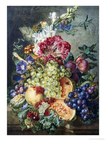 Fruit and Flowers-Gerrit Jan Van Leeuwen-Framed Premium Giclee Print