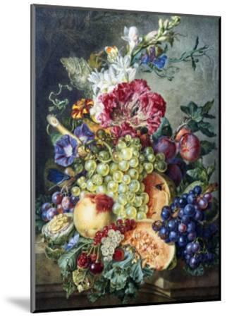 Fruit and Flowers-Gerrit Jan Van Leeuwen-Mounted Giclee Print
