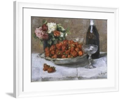 Still Life with Champagne and Strawberries-Isidor Verheyden-Framed Giclee Print