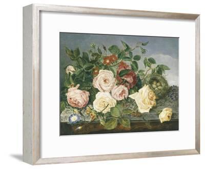 Still Life of Roses and Morning Glory-Eloise Harriet Stannard-Framed Premium Giclee Print
