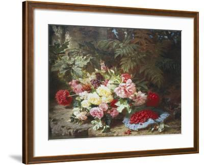Still Life with Roses and Raspberries-Jean Baptiste Claude Robie-Framed Giclee Print